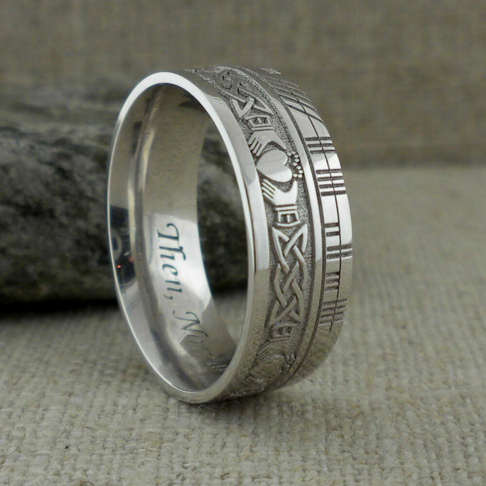 Irish 7.5 Celtic Claddagh Wedding Ring With Customized Ogham Script Rail Made in Ireland Personalized Band Knot Wedding
