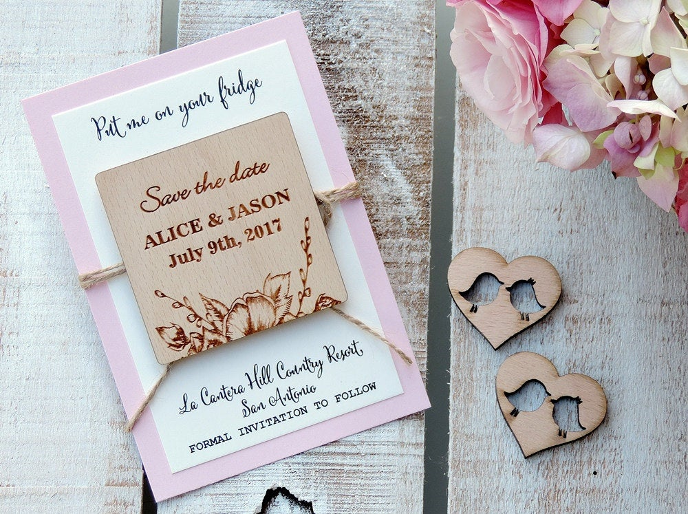 Floral Wood Save-The-Date Magnets, Magnet, Wooden Save The Date Rustic