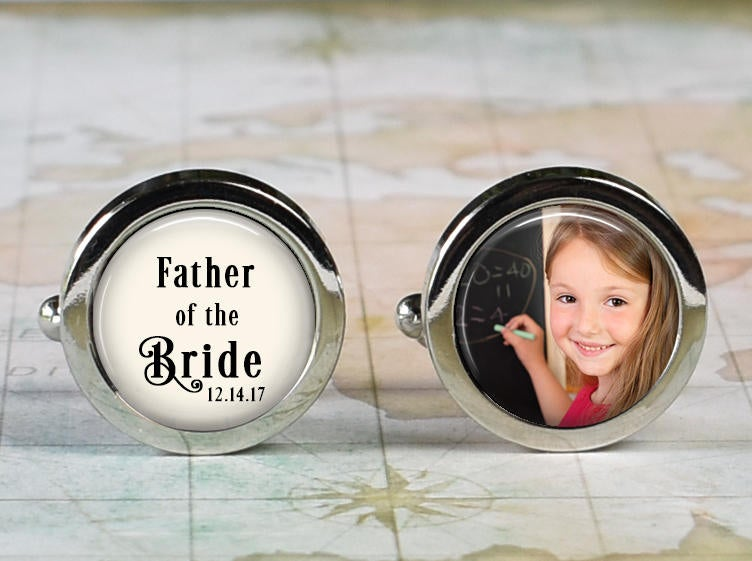 Father Of The Bride Cufflinks, Wedding Cufflinks Gift For Bride's Father Custom Photo Personalized Cuff Links Dad
