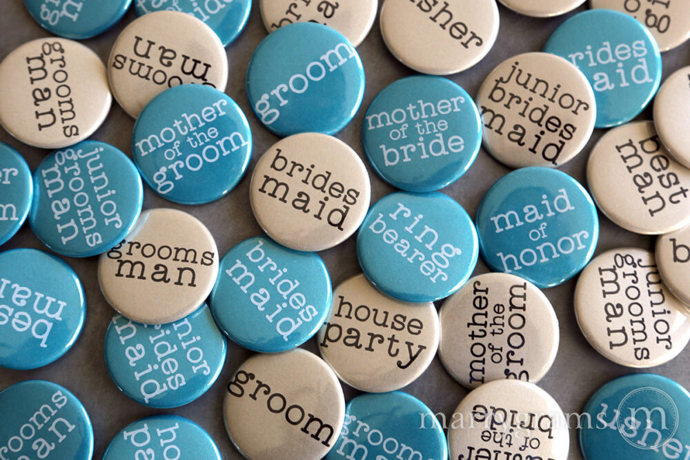 Wedding Party Buttons Pins, Bridesmaid, Maid Matron Of Honor, Groomsman, Beat Man Bride, Mother Father Bride/Groom Bridal Shower Vintage