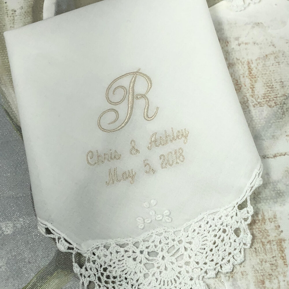 Monogrammed Wedding Handkerchief For Mother Of The Bride, Father Bride Wedding Gift, Custom Embroidered Mom