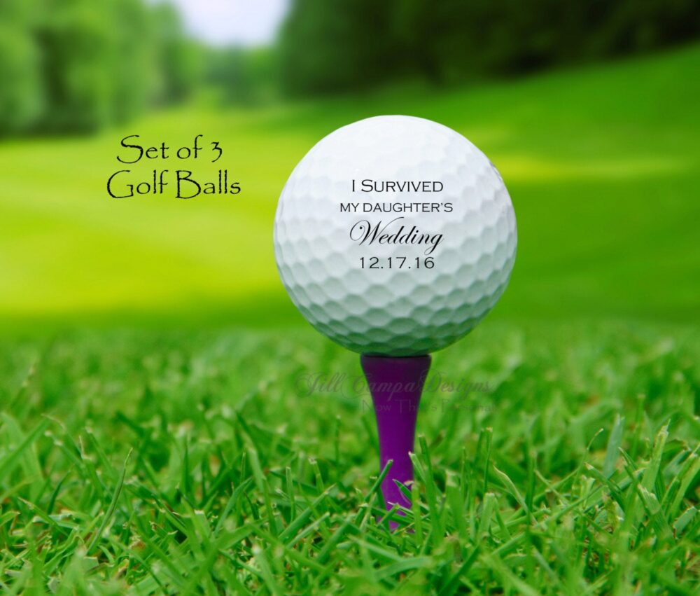 I Survived My Daughter's Wedding, Father Of The Bride Gift, Golf Balls, Set 3 Golf Balls, Fob Gift