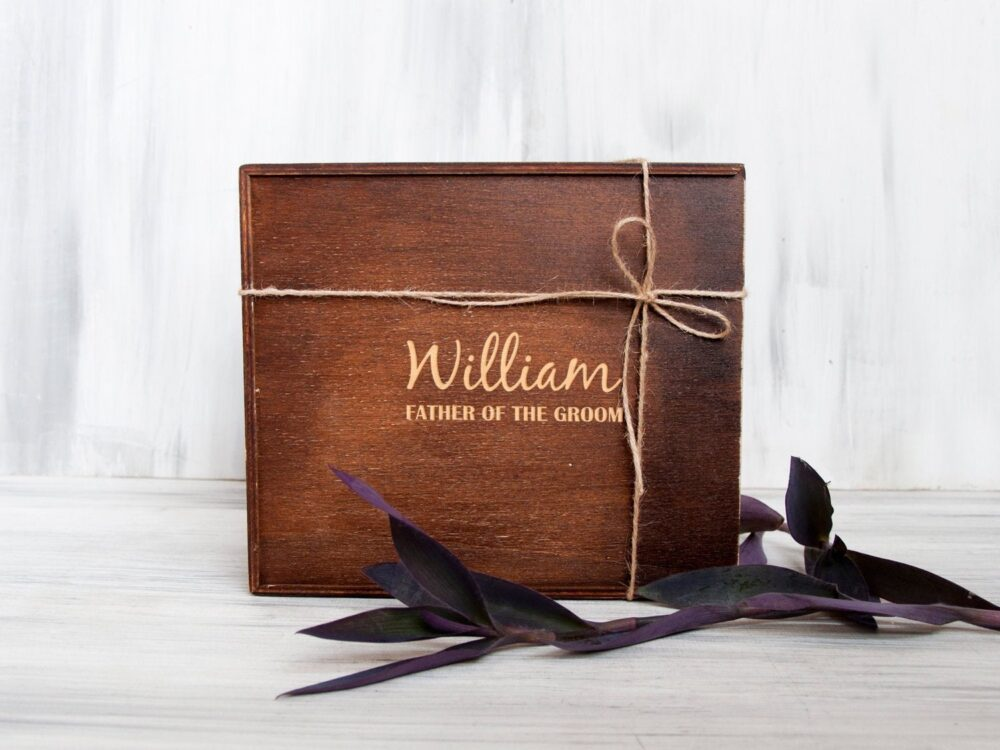Personalized Gift Box Wedding Father Of The Groom Or Bride Bridal Shower Wooden Keepsake Engagement Vintage