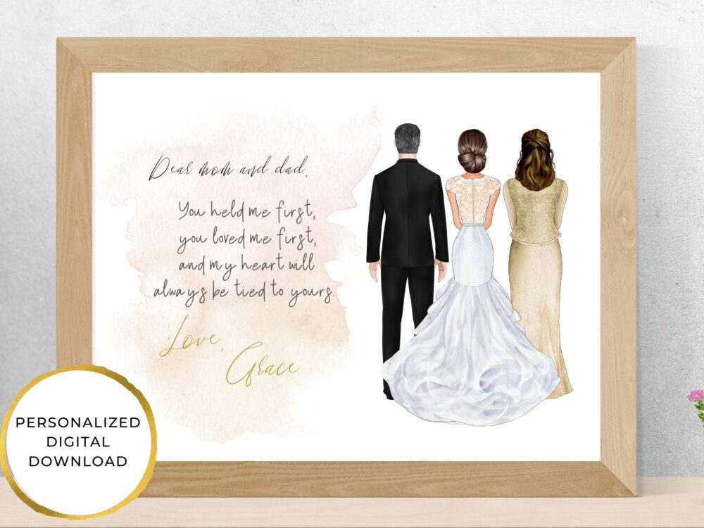 Parents Wedding Gift, Personalized Of The Bride Gift, Thank You Portrait, Printable, Father Bride