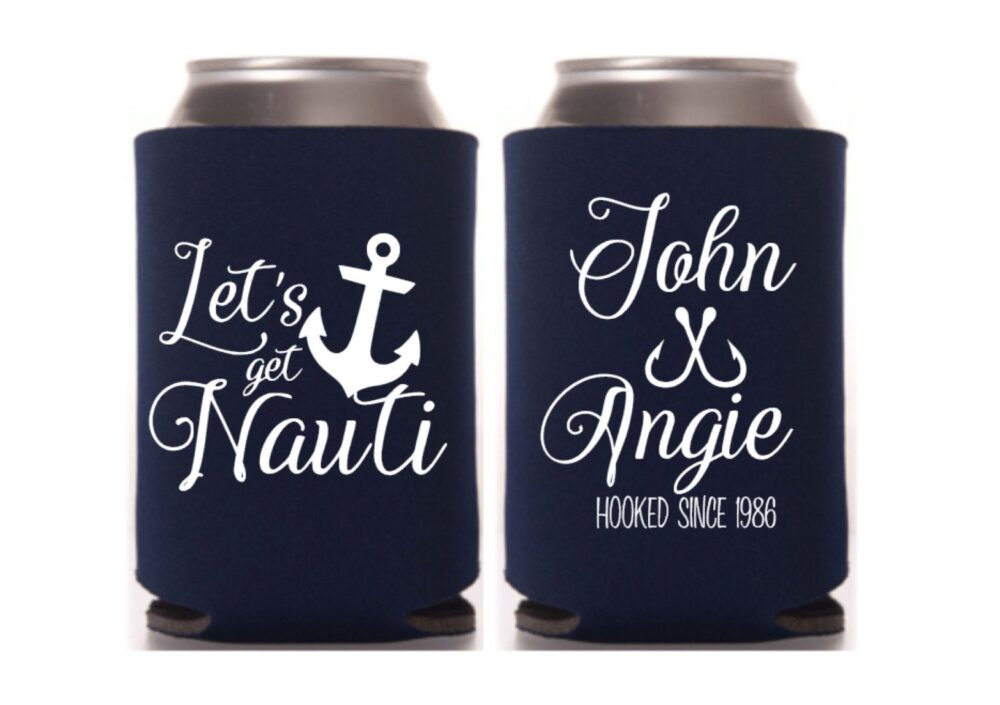 Anchor Wedding Can Cooler, Ocean Destination Wedding, Personalized Favors, Custom Beer Holder, Drink Beach