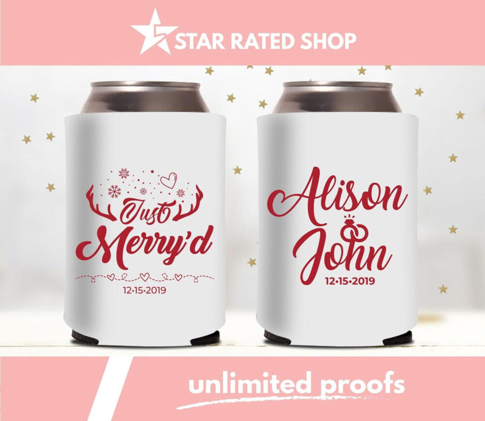 Wedding Custom Can Cooler, December Wedding, Christmas Wedding Can Cooler, Personalized Party Favor | Al