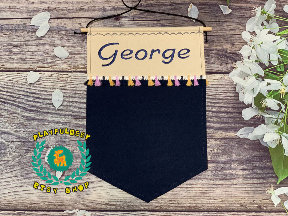 Enamel Pin Banner, Pennant, Personalized Banner With Embroidered Name & Color Lace Trim, Unique Custom