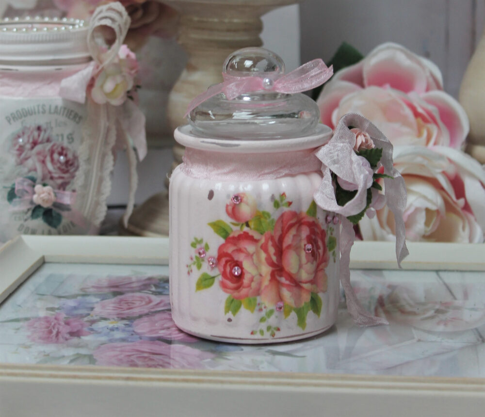 Shabby Chic Vintage French Style Painted Decoupage Mason Jar W/Lid Lace Trim