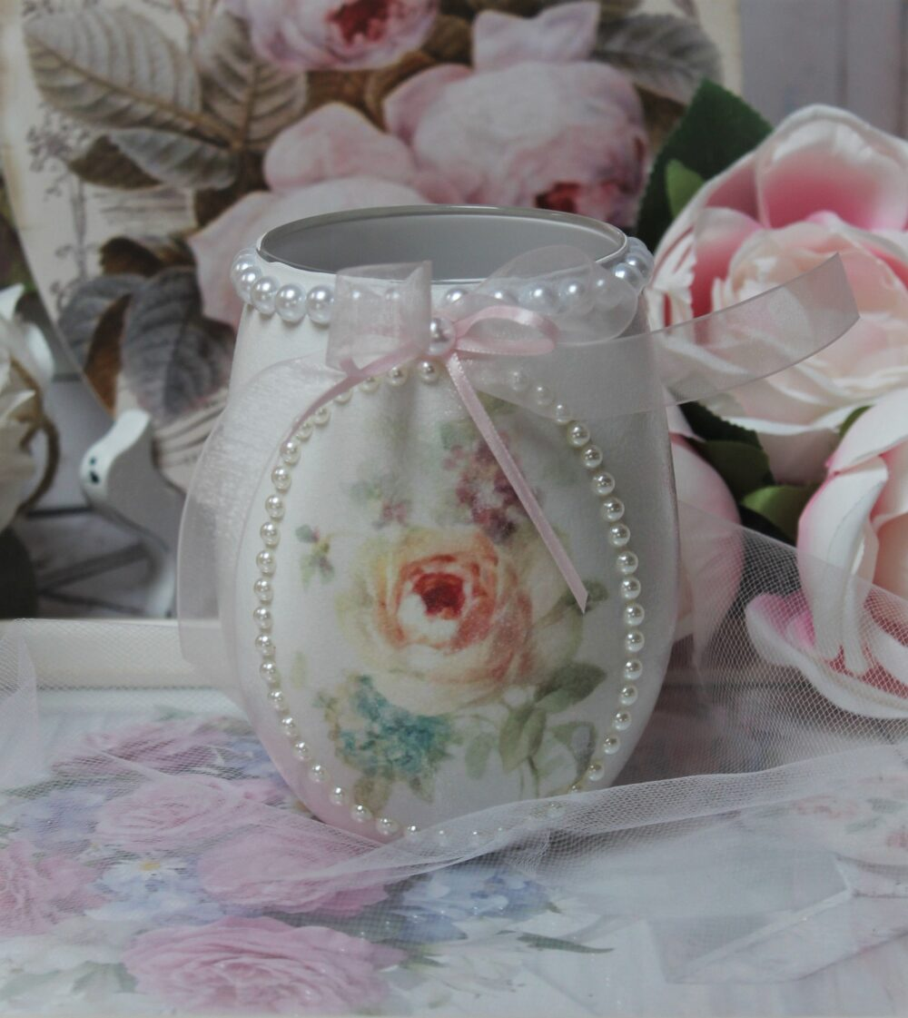 Shabby Chic Vintage French Style Painted Decoupage Pastel Colors Decorative Glass Vase/Mason Jar Watercolor Roses/Lace Trim/Faux Pearls