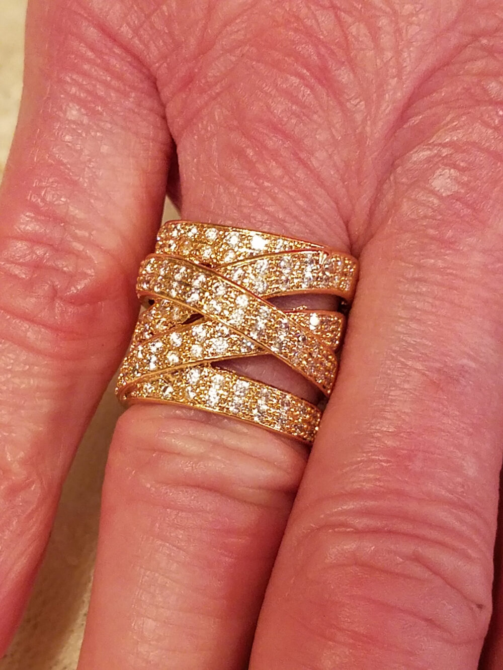 Wedding White Topaz Criss-Cross Gemstones 14K Gold Plated Wide Band 1 Ct. Tw. Size 6