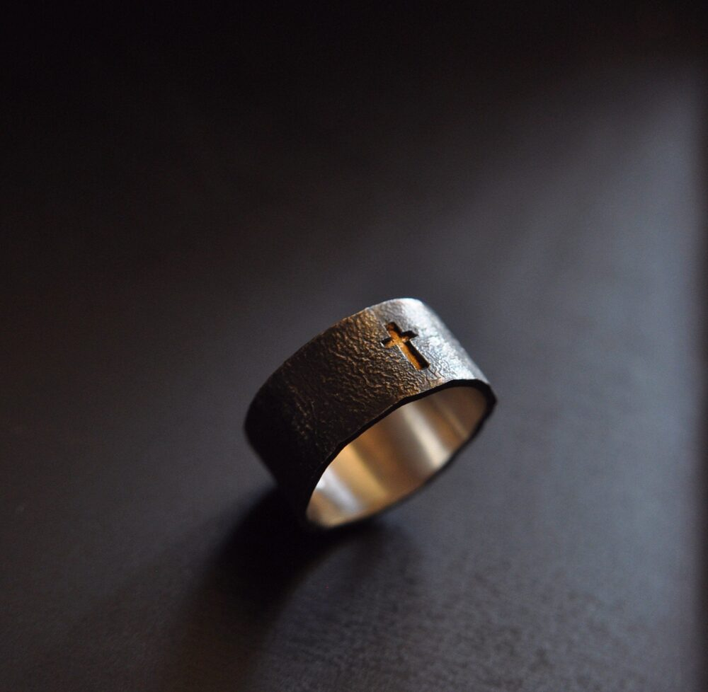 Men's Ring Religious Wedding Band | Bold Sterling Silver Cross Gold Black Male Rustic