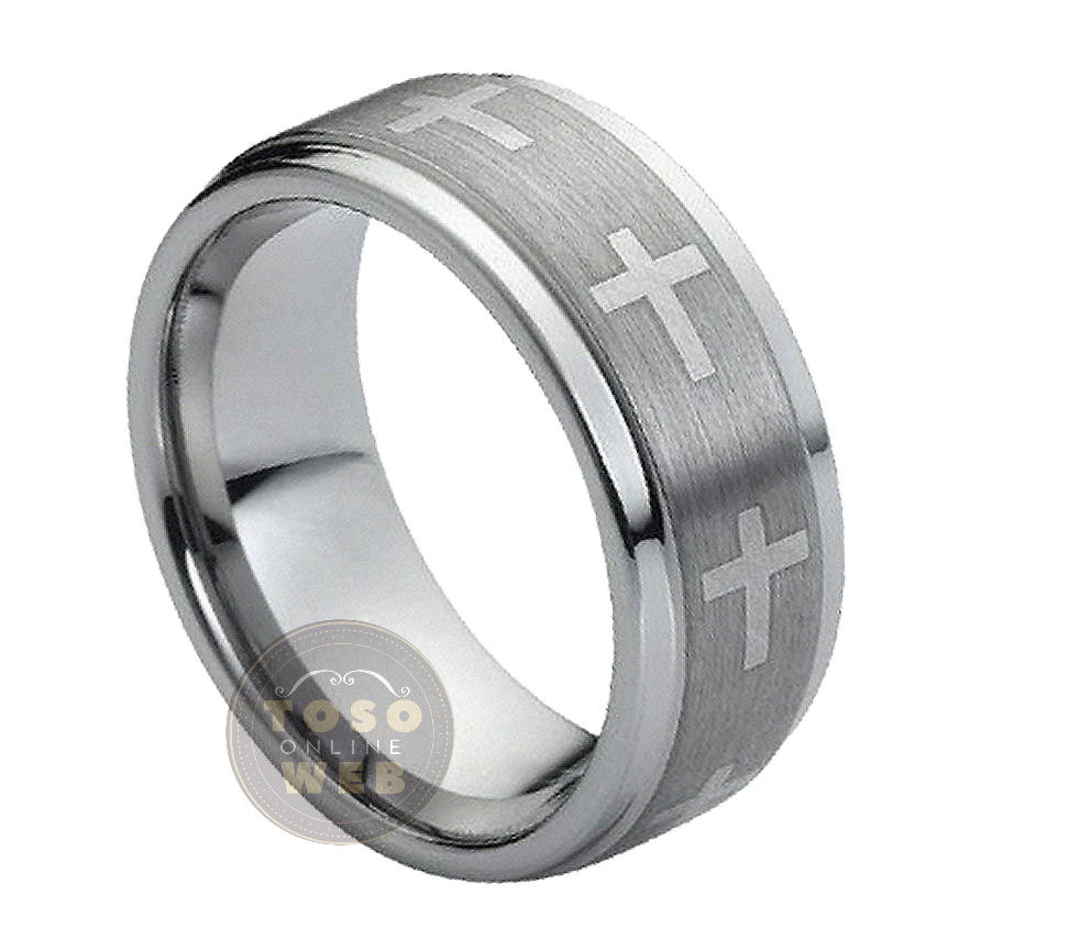 Cross Center Accent-3 Tungsten Wedding Band, 9mm Brushed Stepped Edge, Comfort Fit Carbide Anniversary Ring Ts1492