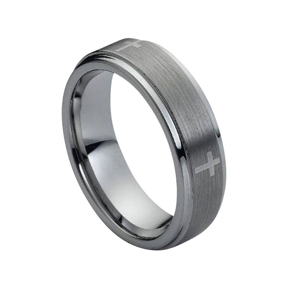 Tungsten Wedding Band Cross Ring Mens 9mm Engagement Brushed Silver Carbide Man Stepped Edges Promise