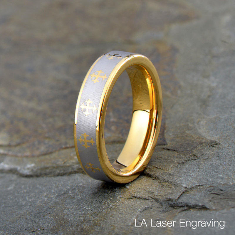 Tungsten Wedding Ring, Mens Band, Cross All Around The Ring, Matt Polished Edge, 5mm, Anniversary Yellow Gold Plated Ring