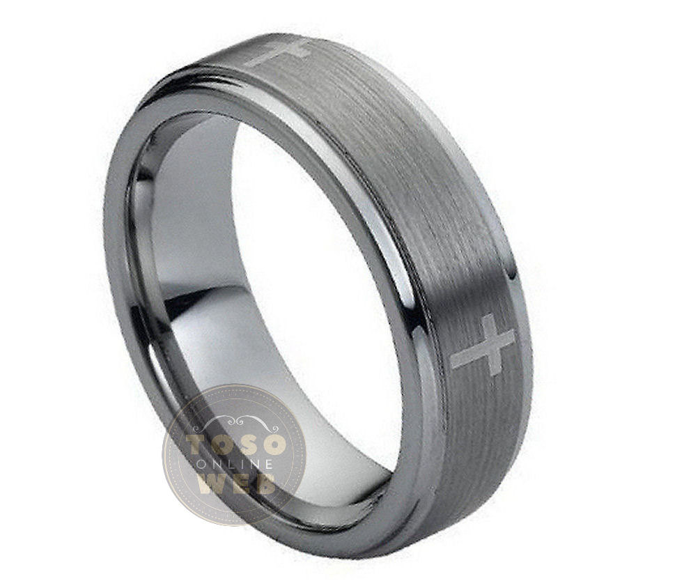 Cross Center Accent-1 Tungsten Wedding Band, 7mm Brushed Stepped Edge, Comfort Fit Carbide Anniversary Ring Ts0442