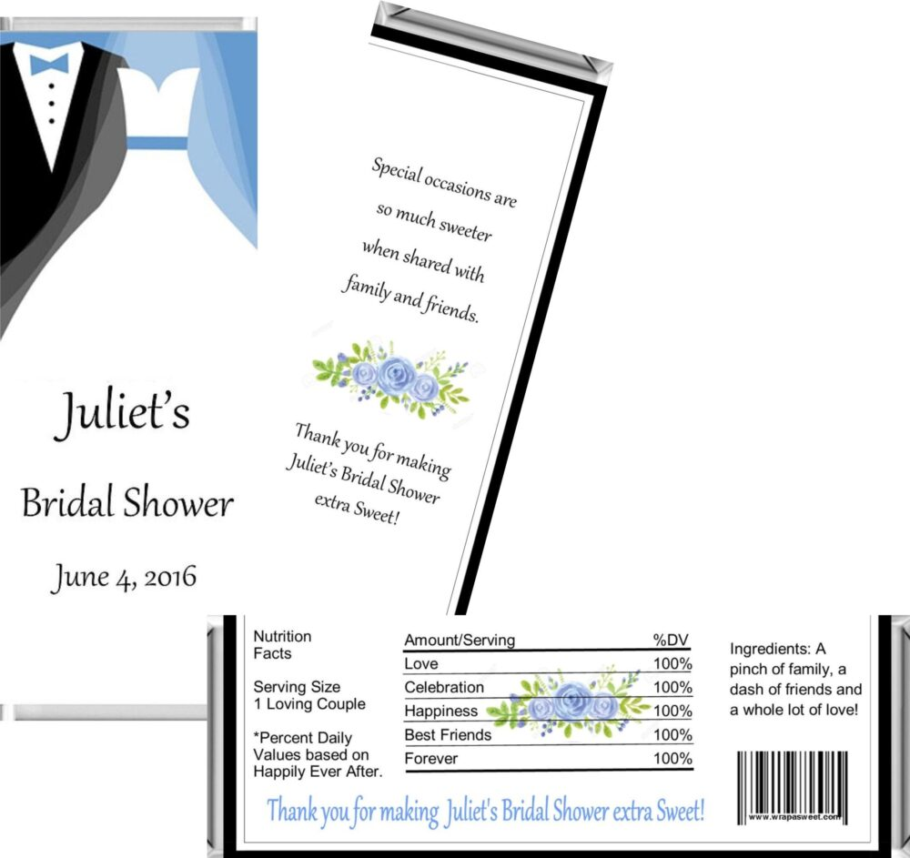 Tux & Gown Bridal Shower Favor ~ Personalized Candy Bar Wrappers Fit The 1.55 Oz Hershey's Digital Or Printed