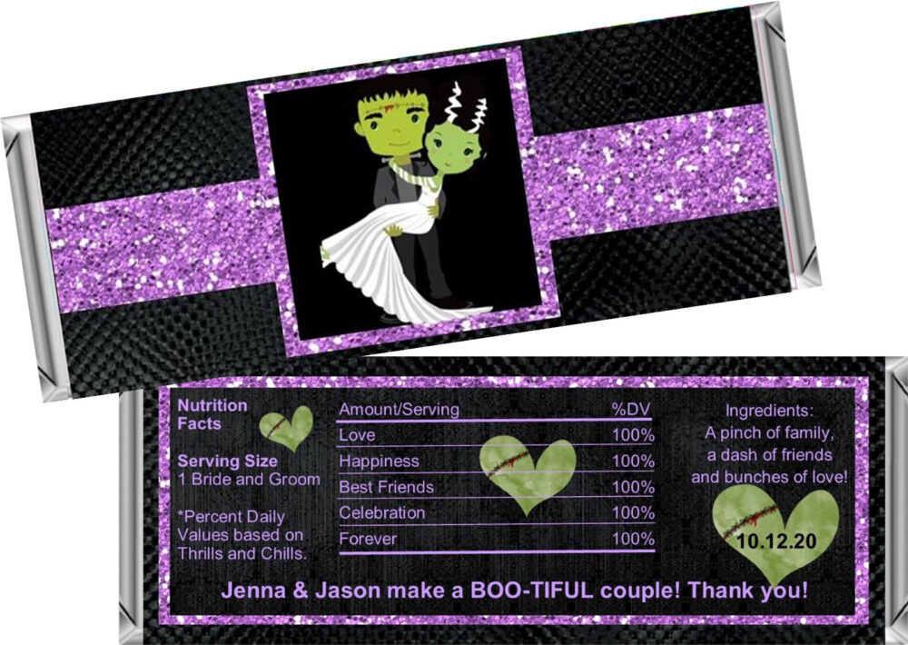 Bride Of Frankenstein Wedding Or Halloween Bridal Shower Candy Bar Wrappers Fit The 1.55 Oz Hershey's ~ Digital Or Printed