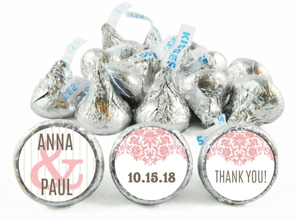Set Of 108 - Silver Wedding Stickers For Hershey's Kisses. Anniversary Labels Kisses Party Favors #idwed711