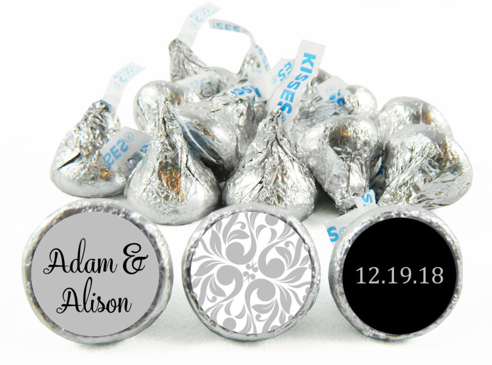 Set Of 108 - Silver Wedding Stickers For Hershey's Kisses. Anniversary Labels Kisses Party Favors #idwed710