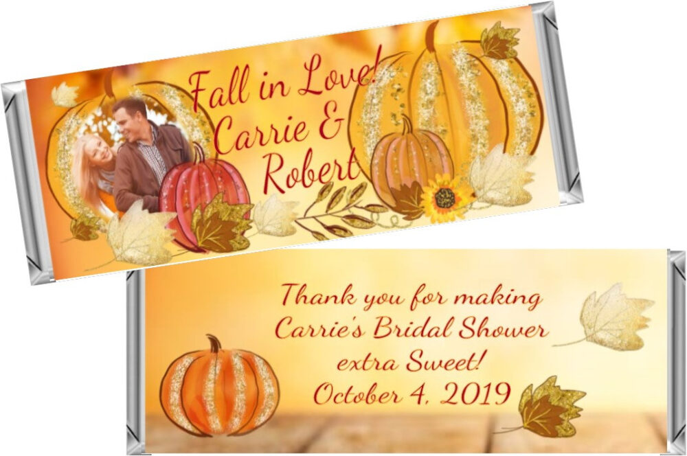 Fall Autumn Bridal Shower Favors ~ Personalized Candy Bar Wrappers Fit The 1.55 Oz Hershey's Digital Or Printed