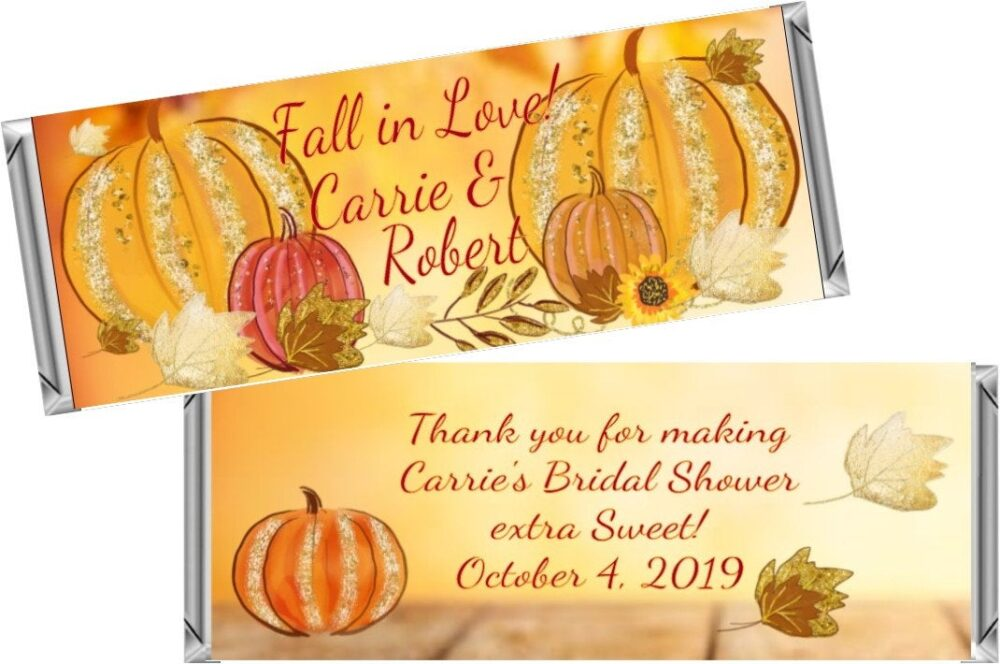 Fall Autumn Bridal Shower/Wedding Favors ~ Personalized Candy Bar Wrappers Fit The 1.55 Oz Hershey's Digital Or Printed
