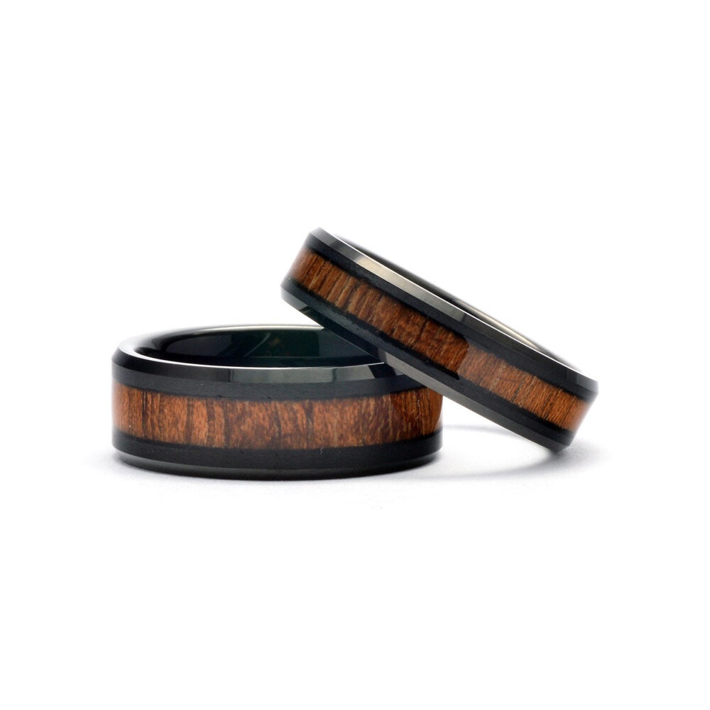 Wooden Wedding Bands Set - Tungsten Matching Rings Black Promise For Couples Men & Women Wood Rings