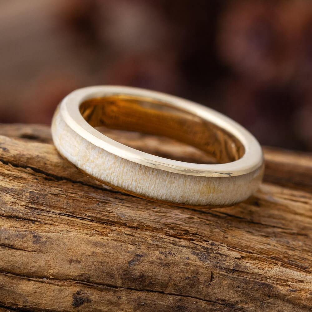 Women's Wood Wedding Band in Yellow, Rose Or White Gold, Simple Ring For Her, Thin With Wooden Inlay