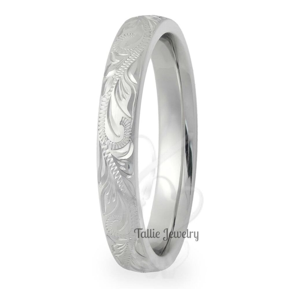 Platinum Hand Engraved Wedding Bands, Rings , Mens & Womens Band For Men, Women