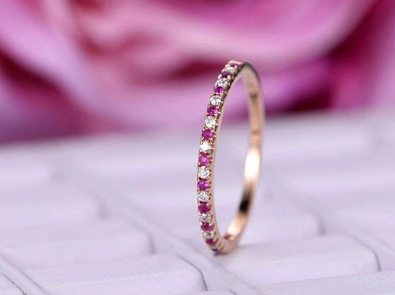 Ruby, Zircon Half Eternity Wedding Band Ring in Platinum Plated Sterling Silver | Ruby Gift For Her
