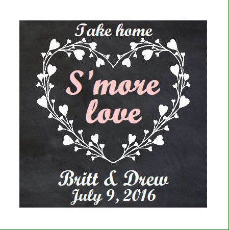 Personalized Print At Home S'more Favor Tags - S'more Wedding Tags, Rustic Favors, Smore Love Fun