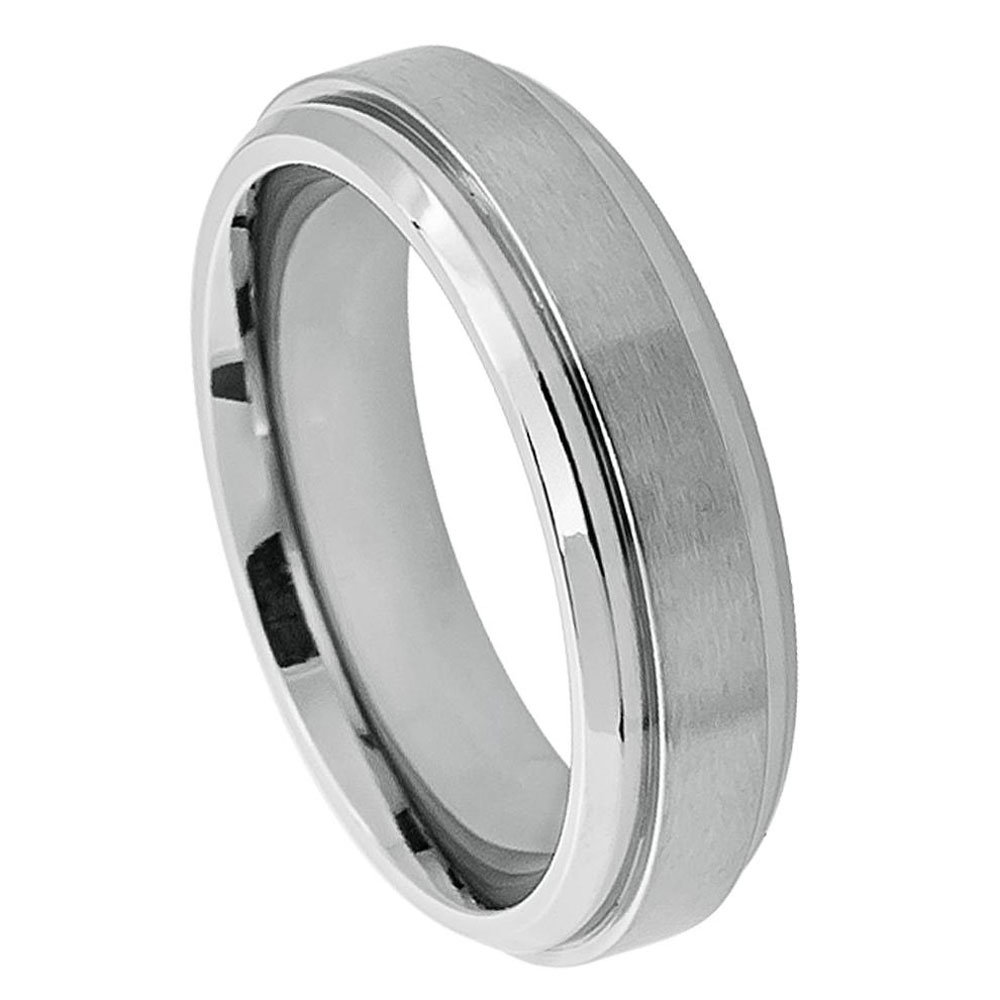 Custom Engraving 6mm Titanium Band Ring Raised Brushed Center Stepped Edge/Gift Box(Jdti400