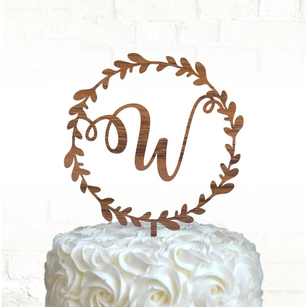 Wedding Monogram Cake Topper, Wood Topper/Laser Cut, Wreath Personalized Rustic