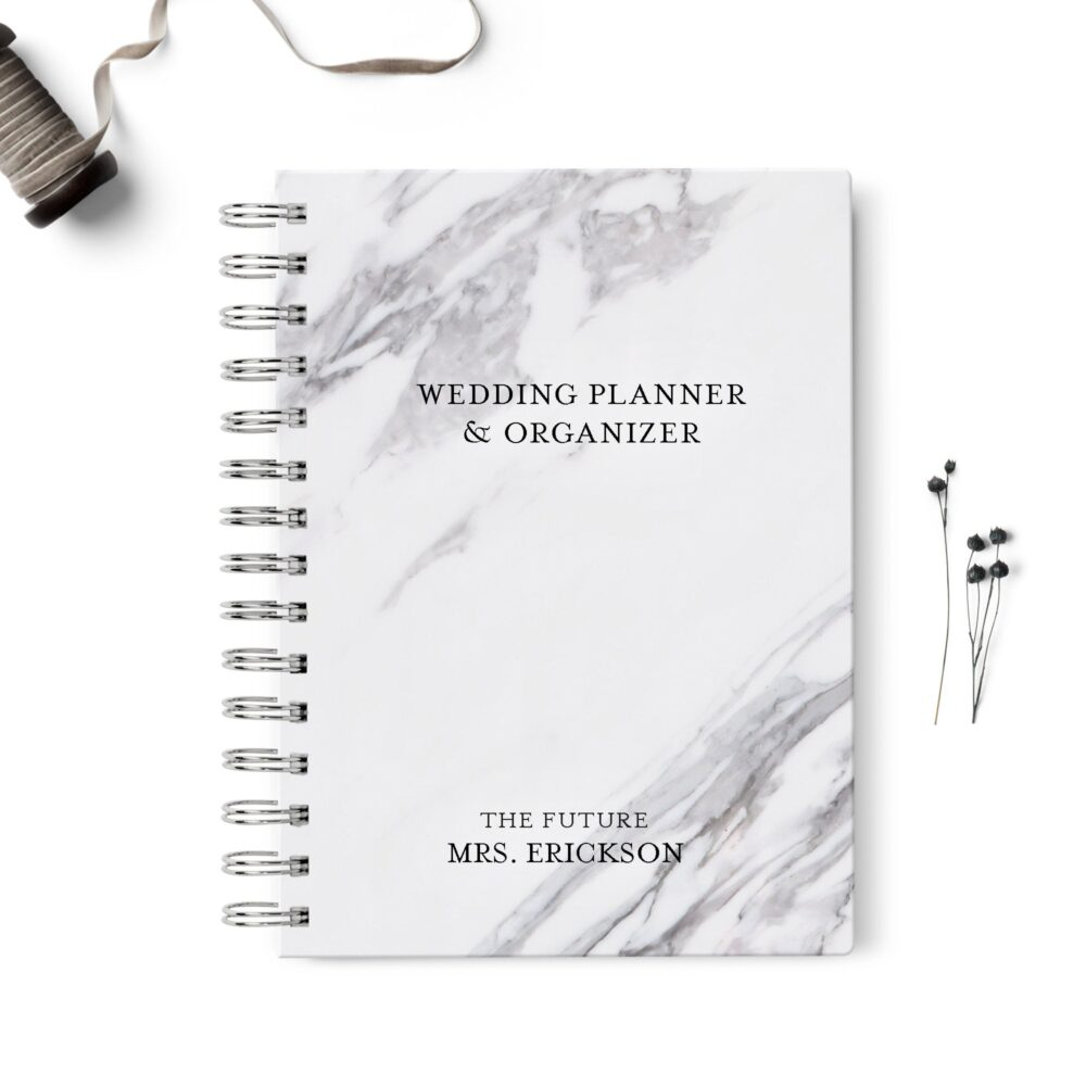 Wedding Planner Book, Event Planning Organizer, 6x8.75, Unique Bride Gift, Budget, Seating Chart Checklists, To Do List, Gray Black Marble