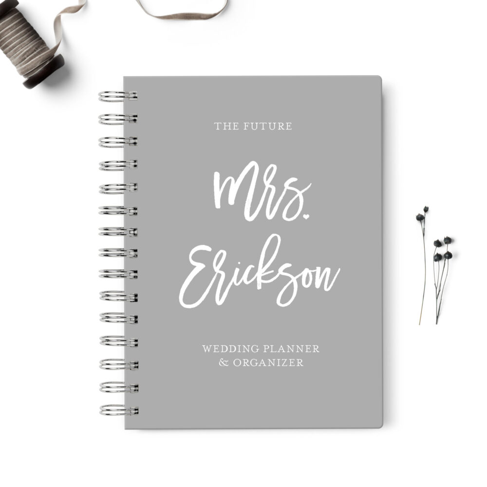 Wedding Planner Book, Event Planning Organizer, 6x8.75, Unique Gift For The Bride, Budget, Seating Chart Checklists, To Do List, Gray Grey
