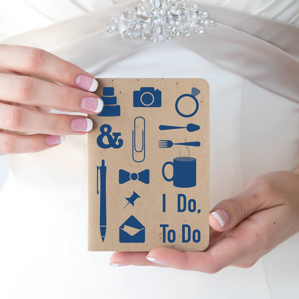 Must Have Wedding Checklist That Fits in Your Purse, I Do, To 3.5 X 5 Inch Notebook Engagement Gift, Monthly Do & Planning Tips