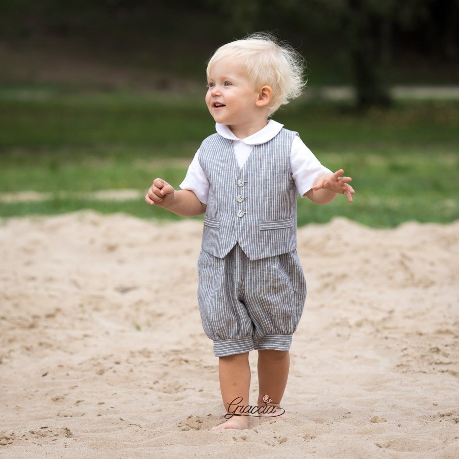 Baby Boy Gray Suit Toddler Romper Vest Page Outfit, Country Linen Wedding Ring Bearer Suit, Infant Baptism Clothes