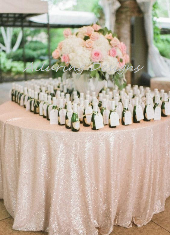 Champagne Sequin Linens Tablecloth Runner Overlay Wedding Event Party Anniversary Shower Bridal Reception Glitz Bling Decor Cake Sweetheart