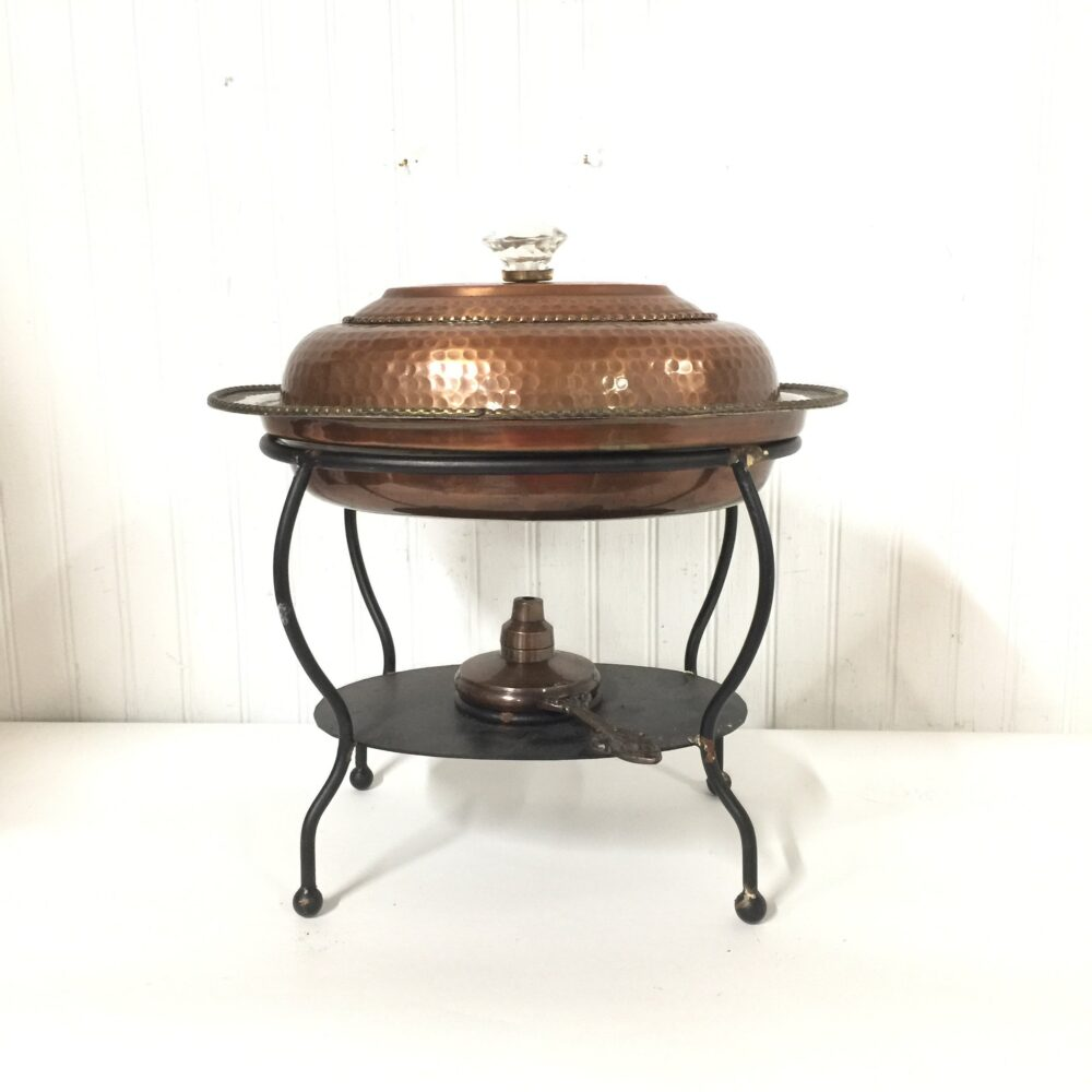 Serving Pan, Copper Chafing Dish, Wedding Decor, Party Server, Wedding Decor, Entertaining, Hammered Copper, Warming Dish