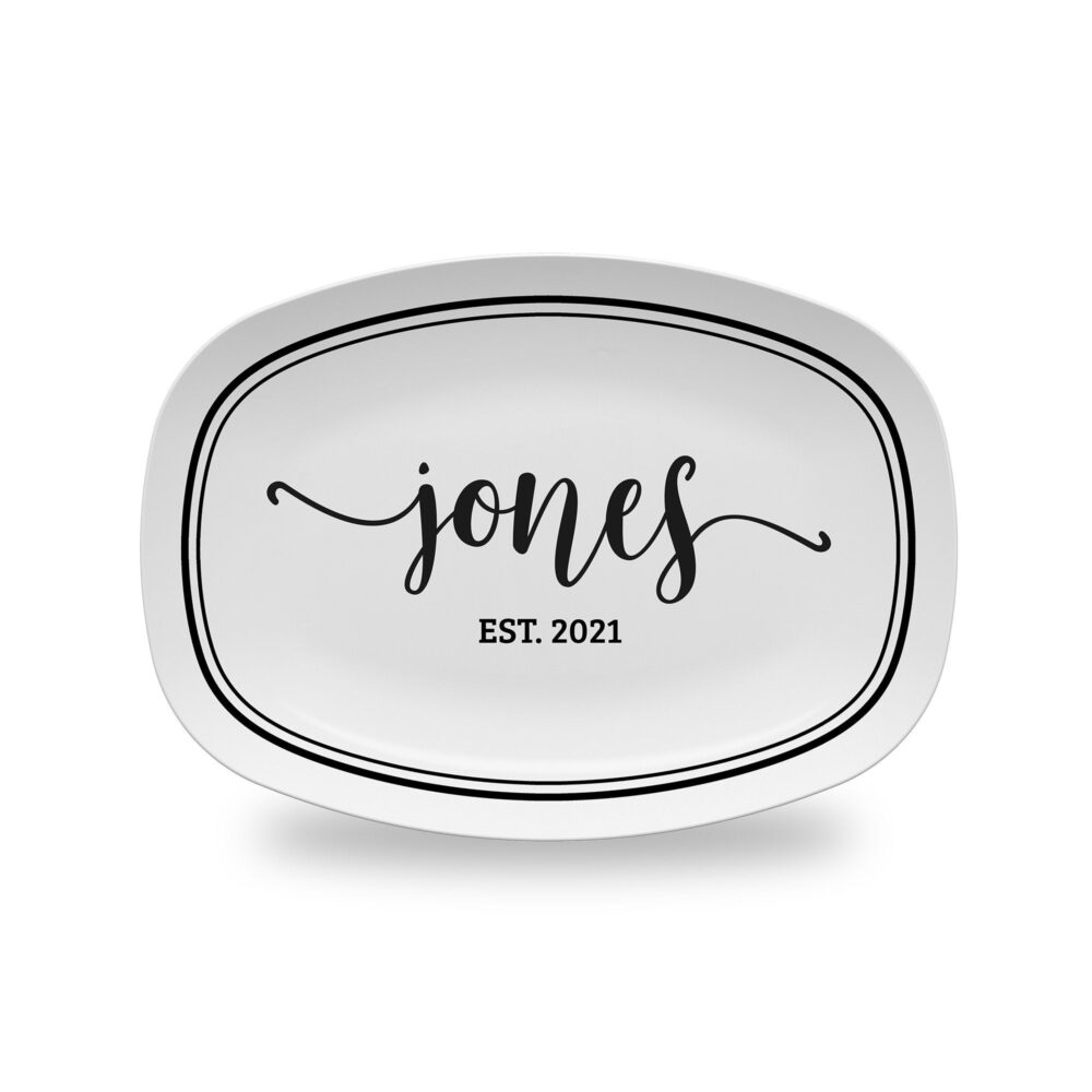 Personalized Platter | Custom Wedding Gift Bridal Shower, House Warming Or Anniversary Ideas Family Last Name Serving Dish Plate