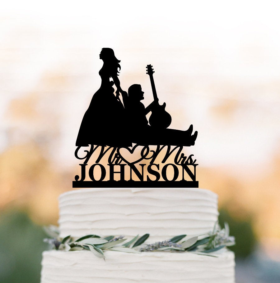 Guitar Player Wedding Cake Topper, Bride Pulling Musician Groom Silhouette, Dragging Groom, Funny Music Topper Personalized