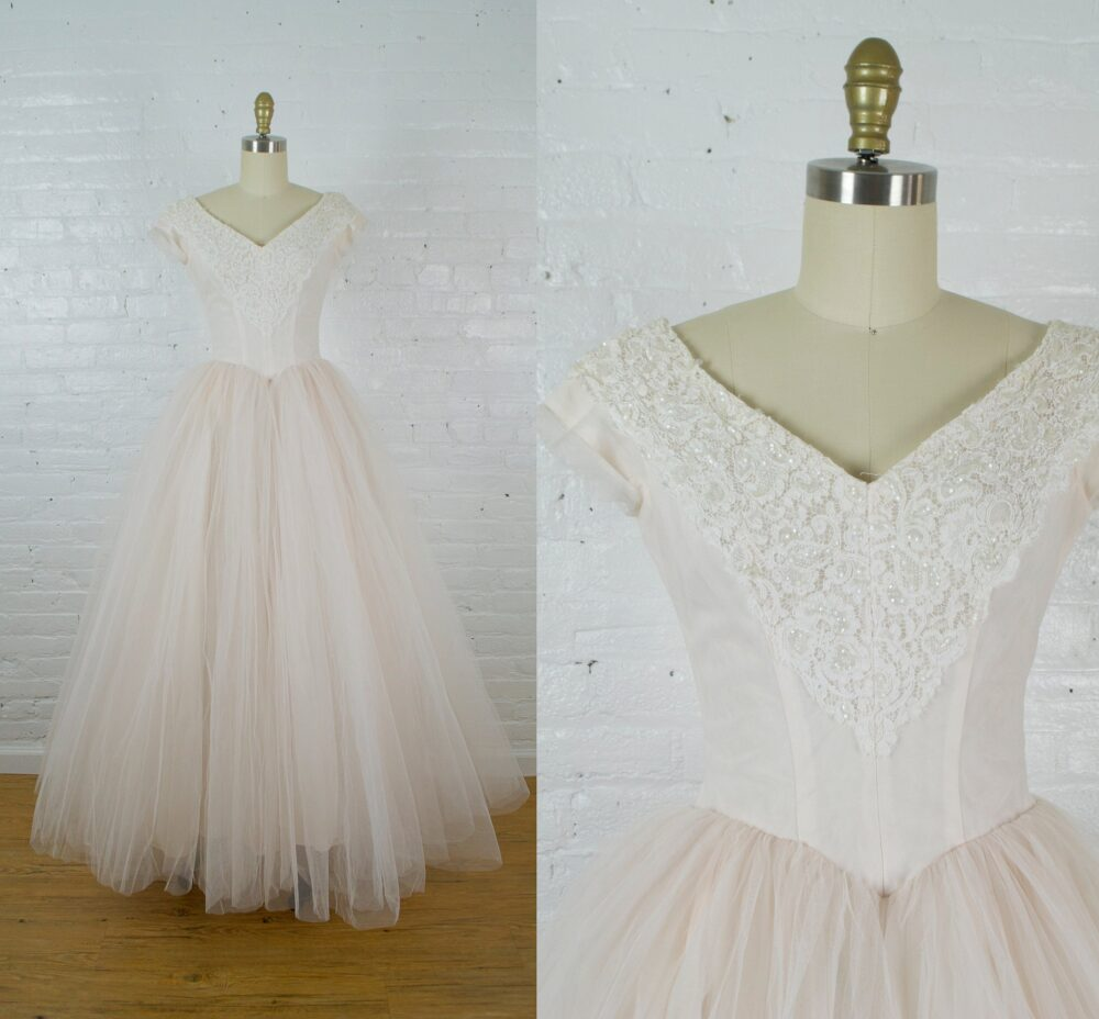 1950S Fleurette Wedding Gown . Vintage 50S Blush Pink Tulle Cupcake Dress With Train Small