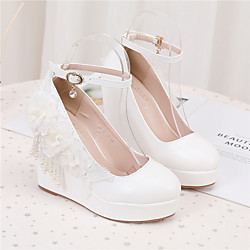 Women's Wedding Shoes Wedge Heel Round Toe Wedding Pumps PU Pearl Buckle Lace Solid Colored White Lightinthebox