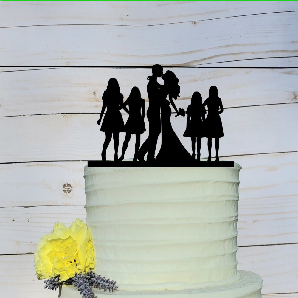 Custom Family Wedding Cake Topper, Wedding, Silhouette Cake, Topper With Kid, Sons, A2