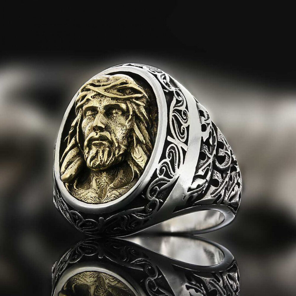 Jesus Christ Ring , Silver Christianity Religious Jewellery Gift For Christians Ring Man