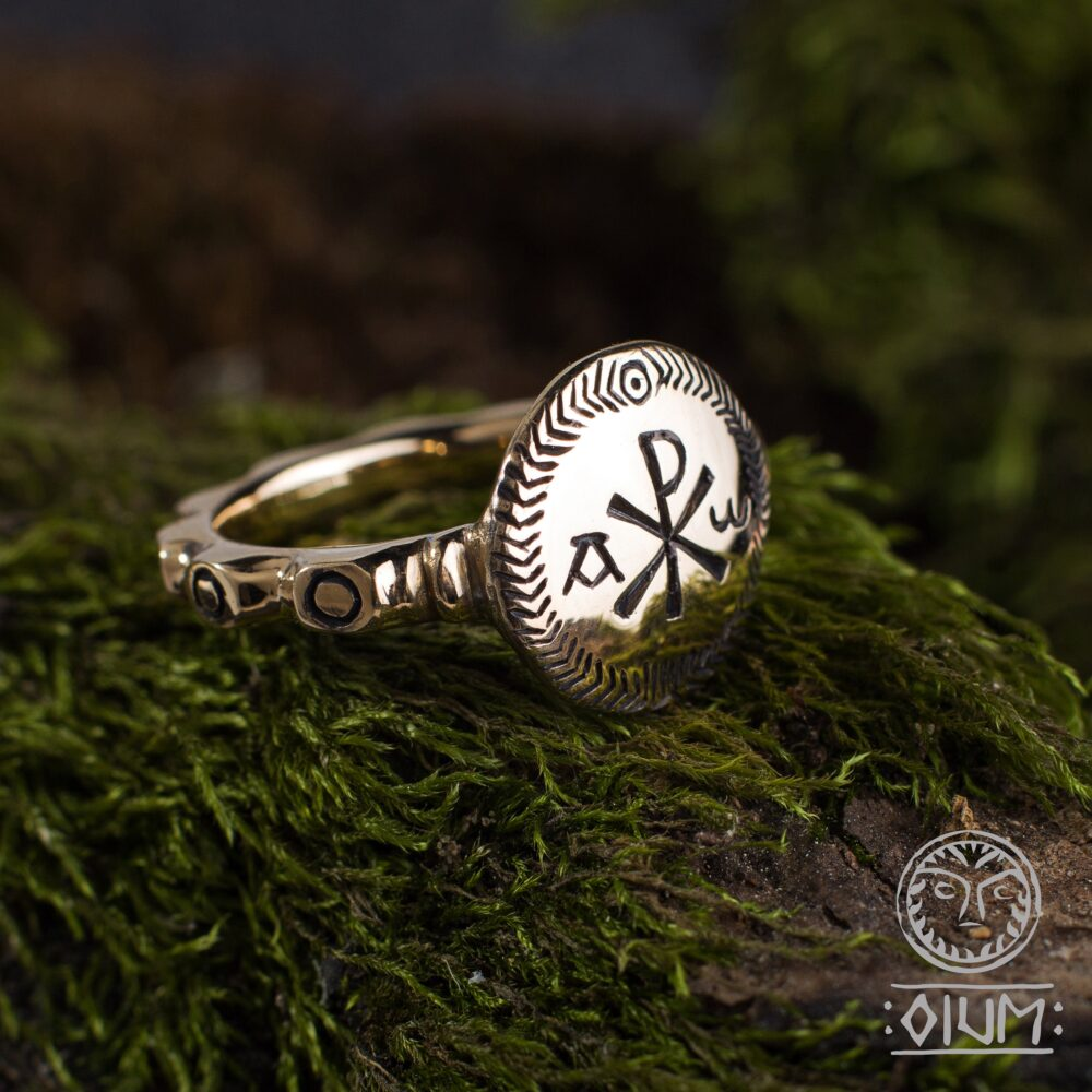 Christian Ring, Chi Rho Symbol, Christ Ring, Alpha & Omega Band, Medieval, Middle Ages, Reenactment, Ancient, Christogram