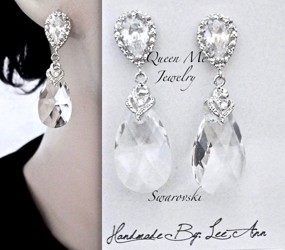 Crystal Wedding Earrings For A Bride, Bridesmaids Mother Of The Bride Earrings, Frameless Swarovski Crystals, Sterling, Bridal Jewelry