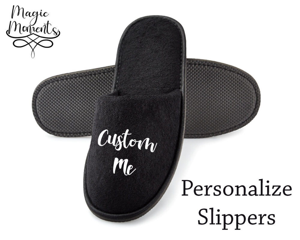 Customized Spa Slippers Close Toe Black House Wear Bride Bridesmaid Gift For Her Wedding