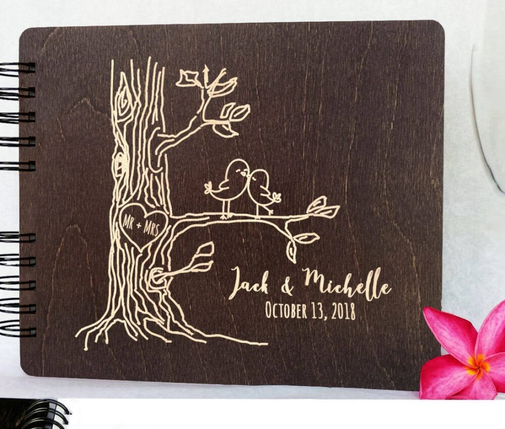 """Personalized Love Birds Wooden Wedding Guest Book 8.5x7"""" Wood Alternate Unique Barn Mr Mrs Guestbook Custom Newlywed Register"""