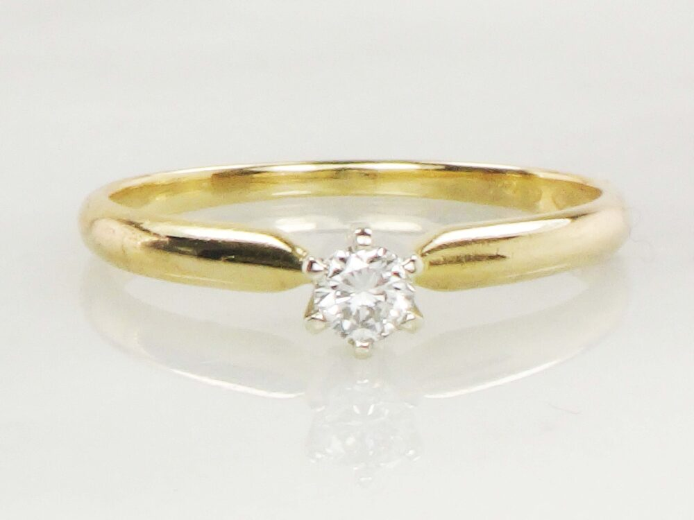 Vintage Diamond Ring Engagement Round Solitaire Approx .15 Carats Small Size 6.25