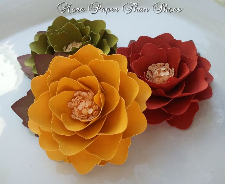 Paper Flowers - Fall Wedding Rustic Place Cards Decoration Party Decor Custom